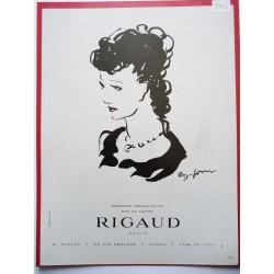 Ancienne publicité originale noir & blanc pour les parfums Rigaud  Illustration de Emilien Dufour 1946