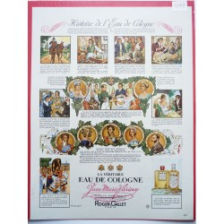 Ancienne publicité originale couleur Eau de Cologne Roger & Gallet  Illustration de Charles Lemmel 1949