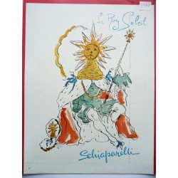 Ancienne publicité originale couleur Le Roy Soleil de Schiaparelli  Illustration de Salvador Dali 1947