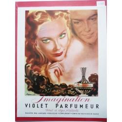 Ancienne publicité originale couleur Imagination de Violet  Illustration de Pierre-Laurent Brénot 1949