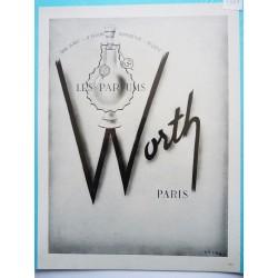 Ancienne publicité originale noir & blanc pour les parfums Worth 1949