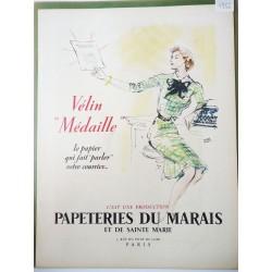 Ancienne publicité originale couleur Papeteries du Marais  Illustration de Pierre Pagès 1952
