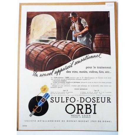 Ancienne publicité originale  couleur pour le sulfo-doseur Orbi