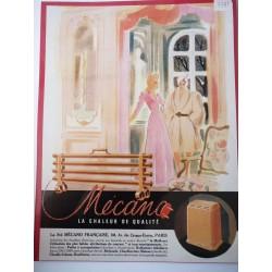 Ancienne publicité originale  couleur pour les radiateurs Mécano 1949