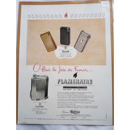 Ancienne publicité originale couleur pour les briquets Flaminaire 1949