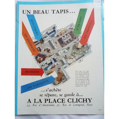 Ancienne publicité originale couleur pour les tapis de la Place de Clichy 1948