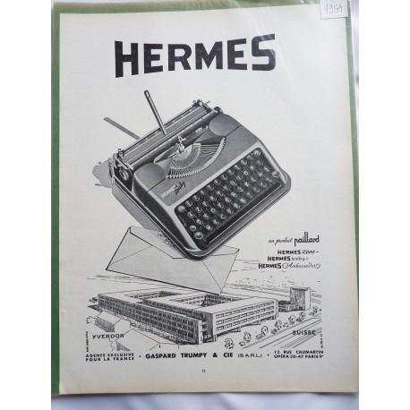 Ancienne publicité originale noir & blanc pour les machines à écrire Hermès 1954
