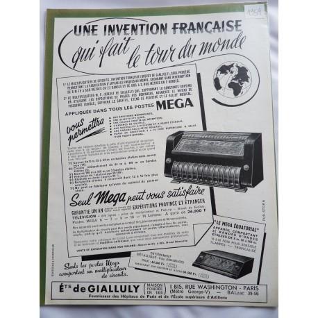 Ancienne publicité originale noir & blanc pour les postes Mega 1954