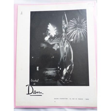 Ancienne publicité originale noir & blanc pour le Cristal de Daum 1952