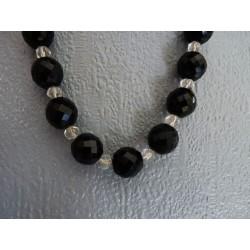 Collier en perles de verre noir et transparent
