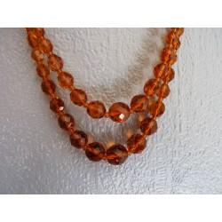 Collier 2 rangs de perles de verre ambré facetté