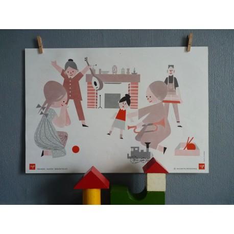 Ancienne affiche scolaire enfants et lapins