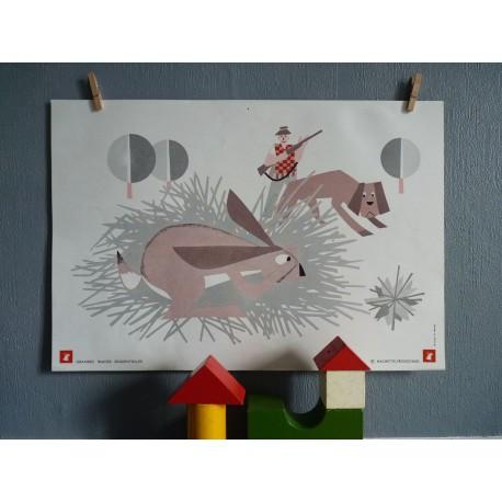 Ancienne affiche scolaire lapin et cheminée