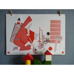 Ancienne affiche scolaire Père Noël et chasseur