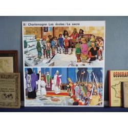 Ancienne affiche scolaire Charlemagne : les écoles, le sacre / Roland à Roncevaux