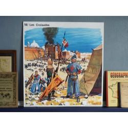 Ancienne affiche scolaire Les Croisades / Les monastères