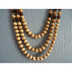 Collier 3 rangs en graines, perles de verre et de métal