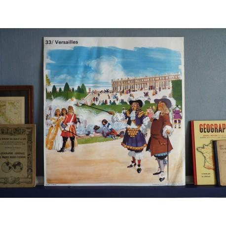 Ancienne affiche scolaire : Versailles - Le lever du roi / Le dîner du roi