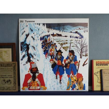 Ancienne affiche scolaire : Turenne - Colbert / La misère du peuple