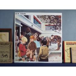 Ancienne affiche scolaire : A l'école / La Chasse