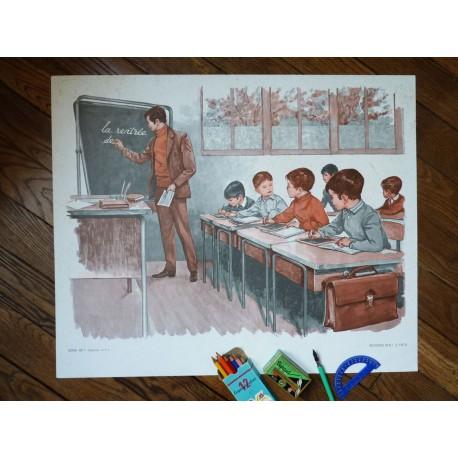 Ancienne affiche scolaire : La récolte de pommes - L'arrivée à l'école