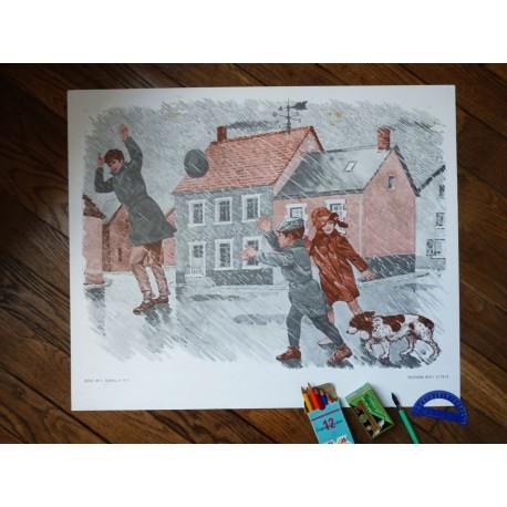 Ancienne affiche scolaire : Sous la pluie - La chasse