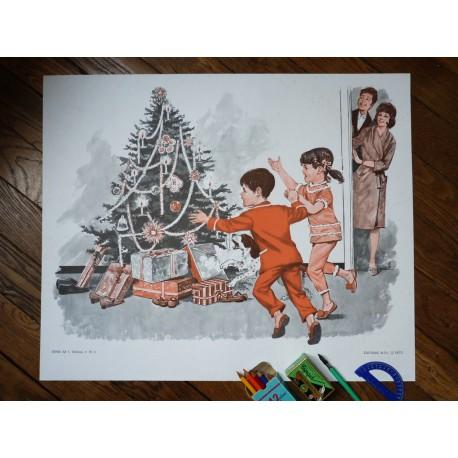 Ancienne affiche scolaire : Le matin de Noël - Jeux dans la neige