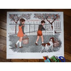 Ancienne affiche scolaire : La cueillette des pommes - Au revoir Maman