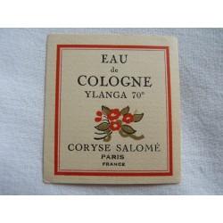 Etiquette Eau de Cologne Ylanga de Coryse Salomé