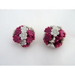 Boucles d'oreilles clips à fleurettes grises et roses