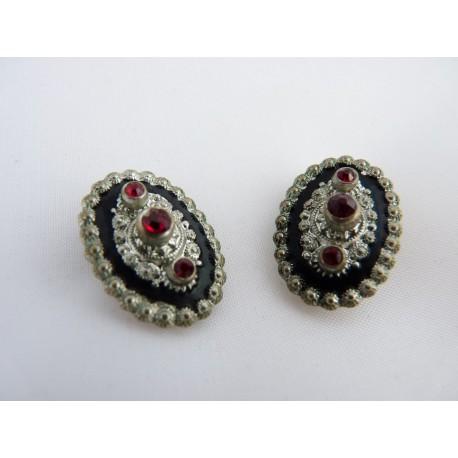 Boucles d'oreilles clips ovales en métal et strass rouges