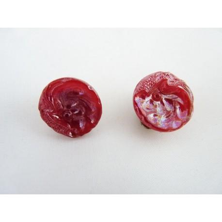 Boucles d'oreilles clips en verre rose irisé
