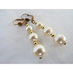 Boucles d'oreilles vintage avec 3 perles imitation culture