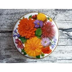 Boite de bonbons ronde en métal à décor de fleurs