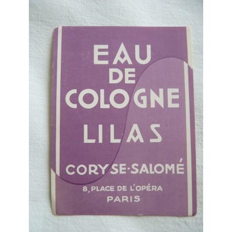 Etiquette Eau de Cologne Lilas de Coryse Salomé