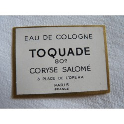 Etiquette Eau de Cologne Toquade de Coryse Salomé