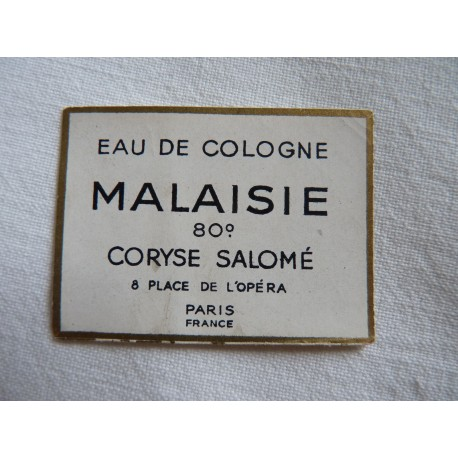 Etiquette Eau de Cologne Malaisie de Coryse Salomé
