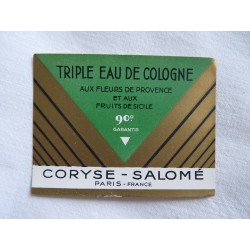 Etiquette Triple Eau de Cologne de Coryse Salomé
