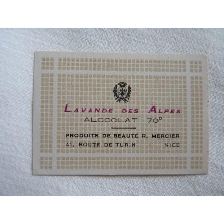 Etiquette Lavande des Alpes - Alcoolat 70°