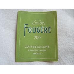 Etiquette Lotion Fougère de Coryse Salomé