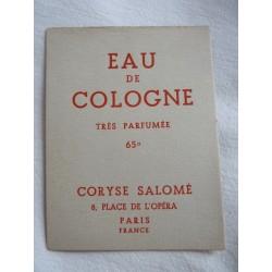 Etiquette Eau de Cologne très parfumée de Coryse Salomé