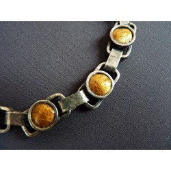 Bracelet en métal émaillé jaune
