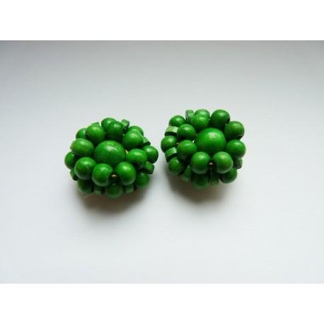 Boucles d'oreilles clips vertes en perles de bois