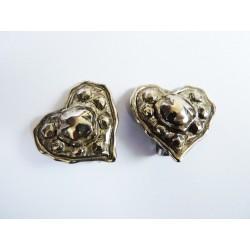 Boucles d'oreilles clips vintage coeurs