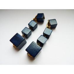 Boucles d'oreilles clips cubes de bois