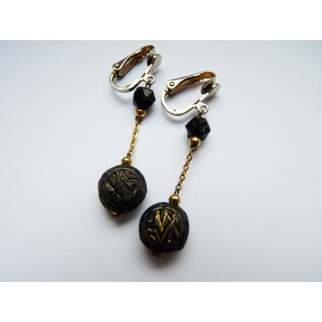 Boucles d'oreilles clips perles noires