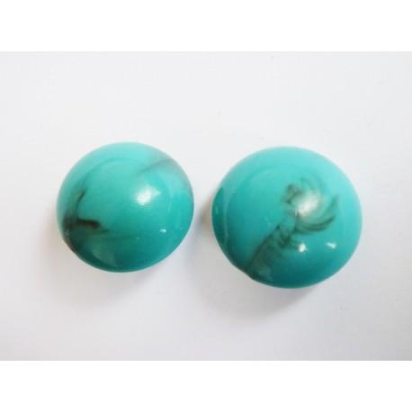 Boucles d'oreilles clips vintage turquoises