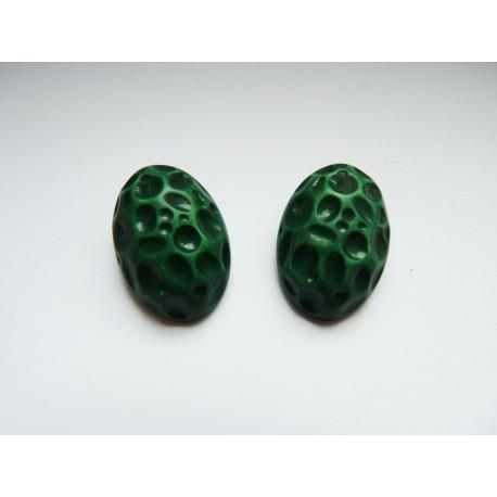 Boucles d'oreilles clips vintage ovales verts