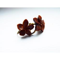 Boucles d'oreilles clips fleurettes marrons
