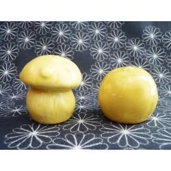 Salière et poivrière en faïence jaune